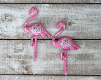 Pink Flamingo~Flamingo Hook~Towel Hook~Beach~Pool House~Bird~Pink~Retro~Iron Wall Hook~Flamingo Wall Hook