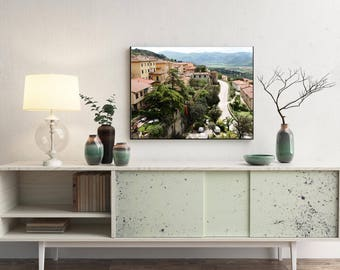 Tuscany Italy Landscape - Tuscan Photography - Italian Architecture Print - Green Art Winding Roads Photo Rustic Mediterranean Decor