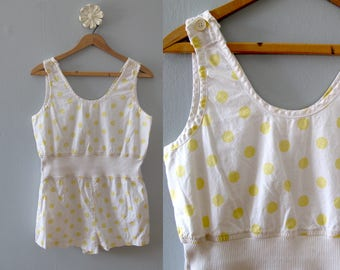 80s vintage romper - yellow white polka dot one piece shorts jumpsuit sleeveless cotton playsuit beachwear onesie retro summer small medium