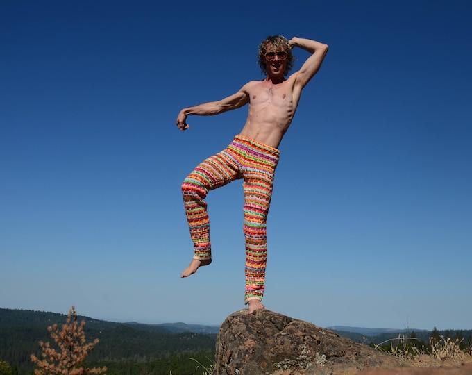 Crochet Pants Psychedelic Neon Stripe M