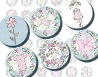 Cute Baby Girls 1 inch bottlecaps circle Digital Collage Sheet for Baby Annoucement, magnets, cards, baby girl theme crafts and jewelry.