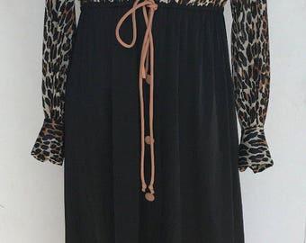 Vanity Fair Long Night gown dressing gown lounge wear lingerie dress robe leopard