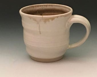 Handmade Wheel-thrown White & Wood-ash Brown Mug