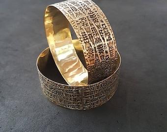 Boho Bangles - Brass Bangles - Big Brass Cuff - Geometric Jewelry - Boho Jewelry