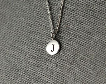 Personalized Necklace Initials, Silver Initial Jewelry, Personalized Gift for Women, Tiny Initial, Everyday Layering Necklace