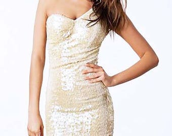 Cream Beige White Sequin One Shoulder Dress With Padded Bust