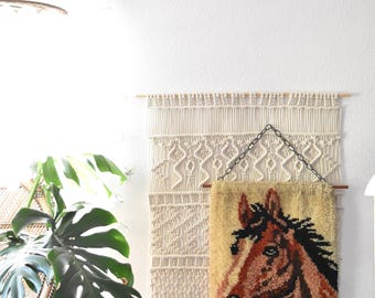 brown horse shaggy rug fiber art | wall hanging crewel art | pony stallion picture