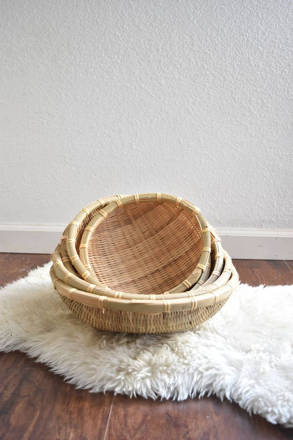 woven wicker nesting baskets with open handles / set of 5