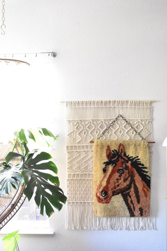 RESERVED // brown horse shaggy rug fiber art | wall hanging crewel art | pony stallion picture