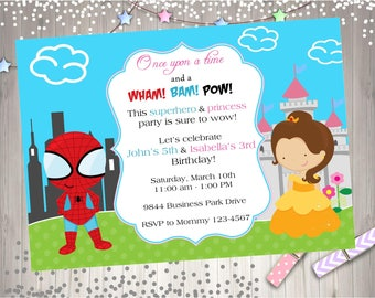 Superhero Princess Birthday Invitation Invite Sibling Superhero Princess Party printable DIY - CHOOSE YOUR superhero and princess