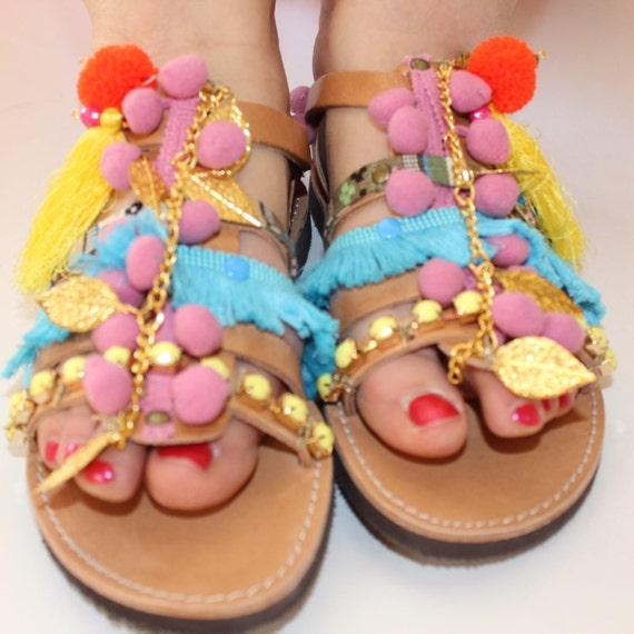 Greek Sandals, Boho Gladiator Sandals, Pom Pom Sandals sandales grecques