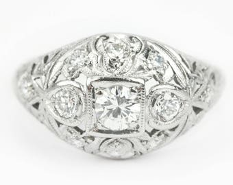 Platinum Art Deco Original Vintage Antique 0.60tcw Old European Cut Diamond Engagement Ring, 1920's Filigree Diamond Engagement Ring