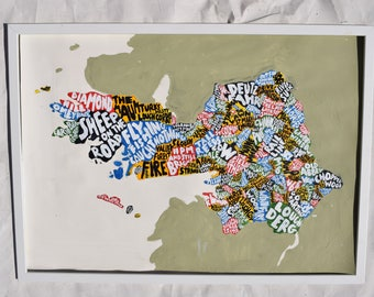 County Galway Map  Art - Acrylic Painting - 28 inch by 20 inch - custom gift idea - made in Ireland