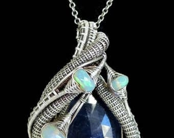 Natural Blue Sapphire Wire-Wrapped Pendant in Antiqued Sterling Silver with Ethiopian Welo Opals
