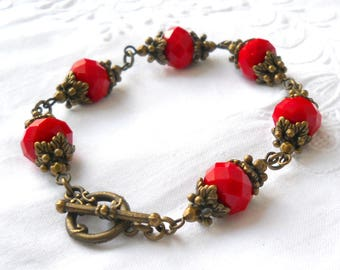 red victorian bracelet red beaded bracelet red jewelry victorian jewelry bronze bracelet beaded jewelry