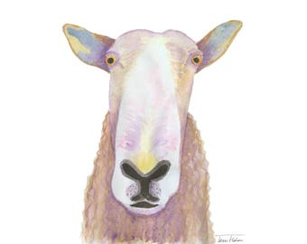 Sheep face art print, farm animal mugshot picture, sheepish illustration, watercolor painting, sketchbook art, barnyard, woolly sheep