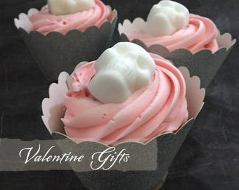 Valentine Skull Gift // Sugar Skull Valentine Cupcake Toppers  // Gothic Valentine Gift // Cupcake Topper // Valentine Gift // Skull Gift