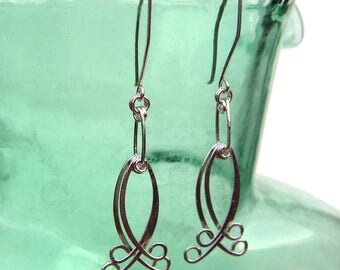 Long Sterling Silver Dangle Earrings Hammered Silver Statement Earrings Abstract Fish Shaped Earrings Wire Jewelry Kinetic Earrings