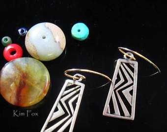 Asian Style Rectangular Dangling Earring in Golden Bronze and Silver by Kim Fox