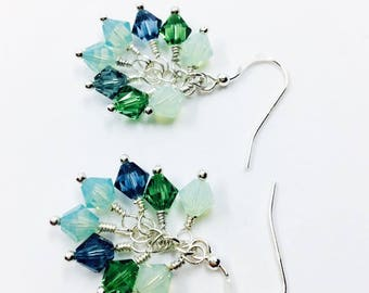 Multi-colored crystal earrings, Swarovski bicones, sterling silver, cluster, gift for her, under 30