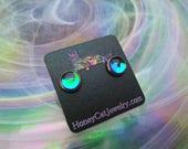 """Glass Opalite Earrings, Teal Color-Shift Glass Opalite Stainless Steel Stud Earrings 10mm / 0.39"""""""