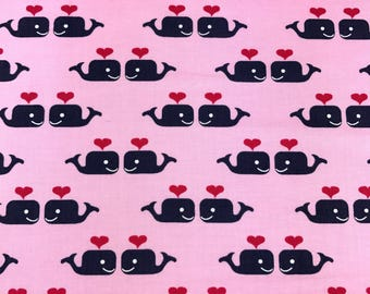 Valentines fabric, Whales and hearts fabric from Dear Stella 100% cotton for Quilting and general sewing projects.