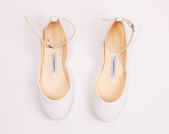 The Bridal Mary Janes in White | Flat Shoes for Weddings | Wedding Low Heel Ballet Flats | The Bridal Ballet Flats in White