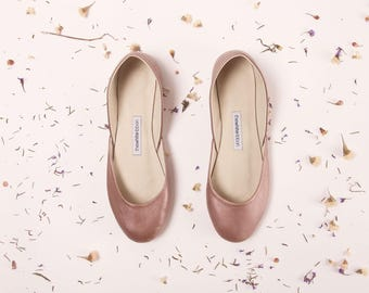 Dusty Rose Ballet Flats | Women's Slip Ons | Ballerina Pumps | Wedding Shoes | Minimal Shoes | Dusty Rose | Ready to Ship