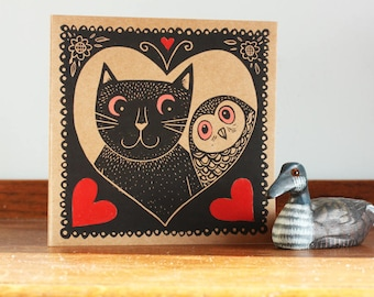 Cat and Owl, Valentines Day Card, Love card, Original Hand Printed Card, Linocut Card, Blank Greeting Card, Kraft Card, UK Free Postage