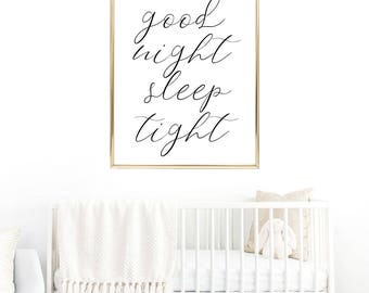 SALE -50% Good Night Sleep Tight Digital Print Instant Art INSTANT DOWNLOAD Printable Wall Decor