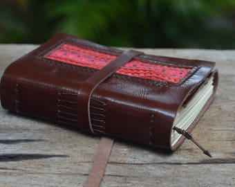"Leather Journal / Handmade / Diary / 6""X4""/ LINED or plain / tribal"