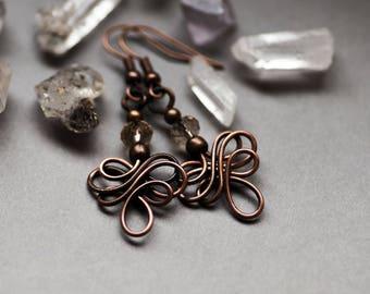 Celtic Knot Earrings, Golden Copper Rustic Earrings, Wire Wrapped, Retro, Bohemian Jewelry