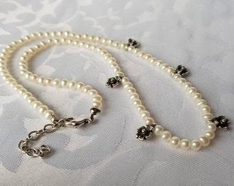 Genuine Pearl Sterling Flower Necklace, Pearl Necklace, Freshwater Pearl Necklace, Necklace, Choker