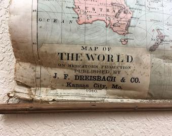 Antique Map of Europe The World - 1910 J. F. Dreisbach & Co.  Kansas City, MO.