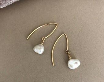 Pearl Earrings, Pearl Earrings Gold or Silver, Gold or Silver Pearl Earrings, Pearl Drop Earrings, Pearl Drop Earrings Gold or Silver