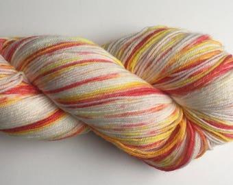 Hand Dyed Yarn, Merrick,  Hand Dyed Sock Yarn, Long Island Yarn, Hand Painted Sock Yarn, Variegated Yarn, Speckled Yarn, Orange Yarn
