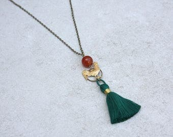 Teal Tassel, Carnelian, and Rooster Necklace // Festival Jewelry // Colorful Tassel Necklace // Farm Animal Jewelry // Semiprecious Stone