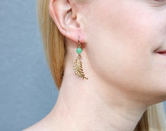 Brass Fern and Green Jade Dangle Earrings // Drop Earring // Vintage Style Jewelry // Gift for Her //