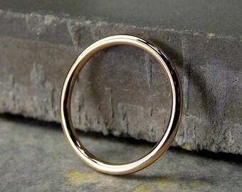 14K Yellow Gold Ring, Medium Yellow Gold Stacking Ring, Full-Round Stacking Ring, Solid 14K Yellow Gold Ring, Made to Order