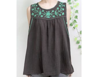 Summer Sleeveless Cotton Top, Flower Hand Embroidered Women's Blouse, Loose Fitting Round Neck Top in Dark Brown