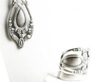 Sterling Silver Spoon Ring Gift Set for Her, Royal Victorian Lunt Monticello, Handmade Floral Victorian Jewelry, Ring & Necklace Set (6475)