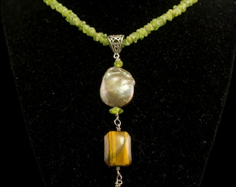 Peridot Necklace with Tigers Eye and Coin Pearl and Bell, Green Peridot Beaded Necklace, Arizona Peridot Beads, Fancy Beaded Gift for Her