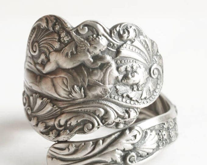 Antique Madonna and Child Ring, Sterling Silver Spoon Ring, Gorham Versailles  1888, Handmade Mother and Child, Adjustable Ring Size (6722)