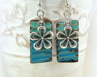 Blue Crinkle Earrings, Two Tone Blue Enamel Charm Earrings, Artisan Boho Corrugated Charm Earrings, Artisan Earrings, Flower Charm Earrings