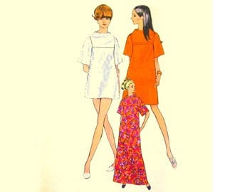 1960s Mod Dress Pattern, Mod Caftan Pattern, Bust 36 Vogue 7335, Standing Neckline, Wide Sleeves, Vintage Sewing Pattern