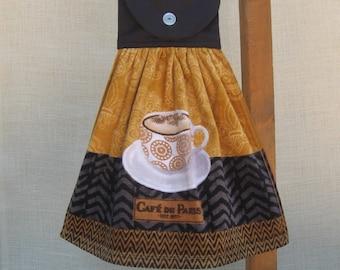 "Coffee Kitchen Towel, Hanging Dish Towel, ""Cafe De Paris"", Black Kitchen Decor, Coffee Lovers Gift, Coffee Towel"
