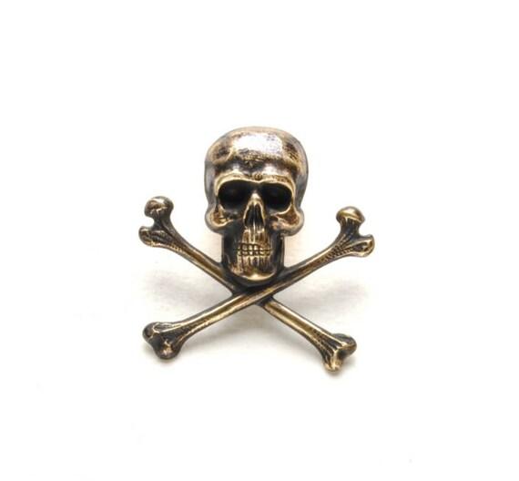 Steampunk Pin Steam Punk Brooch Steampunk Tie Tack Skull & Bones Crossbones Pirate Rocker Biker Steampunk Jewelry By Victorian Curiosities