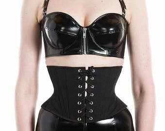 PVC Zipper Bra/Bustier - silver buckles, lace up back  (Artifice photoshoot sample)