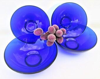 Vintage Cobalt Blue Bowls | Glass Bowls | Cereal Bowls | Ice Cream Bowls – Set of 4