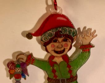 Happy Elf Christmas Ornament